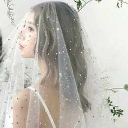 Hair Color Edges Australia - Fairy Bridal Veils One Layer Gold Color Stars Moon Sequins Veil New Wedding Brides Photography Styling Hair Accessories