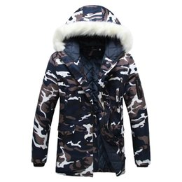 fashion mens camouflage military jacket UK - Fashion Camouflage Parkas Mens Military Medium-long Winter Coat Thickening Cotton-padded Winter Jacket Men With Fur Hood 5XL