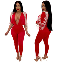 $enCountryForm.capitalKeyWord NZ - Red Long Sleeve Jumpsuits Deep V-Neck Bodycon Sexy Full Bodysuit Casual Pearl Overalls Rompers Womens Jumpsuit 2019 New