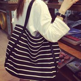 Stripe canvaS tote beach bagS online shopping - Women Striped Shoulder Bag Girl Leisure Summer Canvas Beach Bags Big Capacity Tote Ladies Casual Shopping Handbag AAA1562
