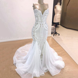 c5206a2cb27 White Off Shoulder Spandex Dress NZ - 2019 Black Girls Long White Mermaid  Sequin Prom Dresses