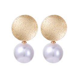 Chinese  New Gold Color Big Round White Pearl Dangle Earrings For Women Girls Gifts Fashion Female Drop Earring Jewelry HZ manufacturers