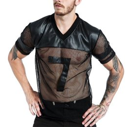 Plus Size Leather Shirts Australia - Mesh Faux Leather Men Shirts Plus Size Patchwork Breathable Tight Undershirts Sexy Stitching Skinny Clubwears Bodybuilding ** Q190514