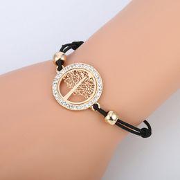 $enCountryForm.capitalKeyWord Australia - Fashion Gold Silver Crystal Diamonds Bracelet Tree and Musical Symbol Bracelet Handmade Knots Rope Bracelet for Woman