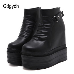 $enCountryForm.capitalKeyWord Australia - Gdgydh 2019 Women Platform Ankle Boots High Increasing Heels Casual Femal Shoes Zipper Open Metal Rivet Accessories Women Shoes