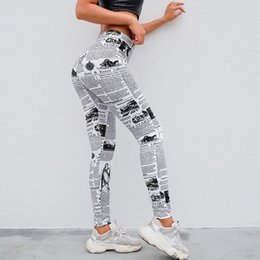 7ec8a8f479 Yoga Pants Women's Fashion Workout Newspaper Sport Leggings Print Sports  Running Yoga Athletic Pants Women Trousers 2019