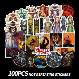 stickers game thrones 2019 - 100Pcs bag Game Of Thrones Graffiti Stickers TV Series For Luggage Car Laptop Notebook Decal Fridge Skateboard Sticker B