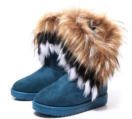Snow Boots Size 42 Australia - 2Fashion Fox Fur Warm Autumn Winter Wedges Snow Women Boots Shoes GenuineI Mitation Lady Short Boots Casual Long Snow Shoes size 36-42
