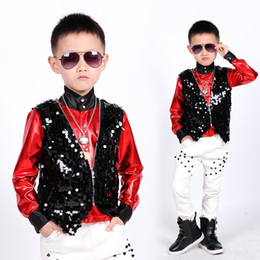 Wholesale studded pants for sale – denim Boys Hip Hop Dance Costumes Black Sequined Tank Jacket White Studded Pants Children Jazz Performance Clothes Stage Wear DN5135