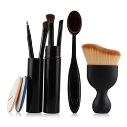 makeup brushes set function NZ - 5 Pcs Multi-function Professional Makeup Brushes Kit Foundation Brush Curved Blush Brush Air Puffs Portable Makeup Set