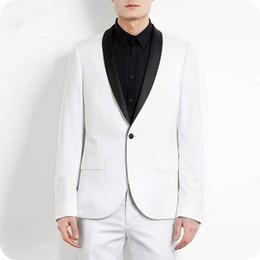 $enCountryForm.capitalKeyWord NZ - Custom Made White Men Suits for Wedding Black Shawl Lapel Tuxedos Slim Fit Formal Blazer Jacket Pants 2Pieces Prom Party Best Man Costume