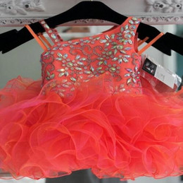 $enCountryForm.capitalKeyWord Australia - Lovely Orange Toddler Infant Girls Pageant Dresses Short Ball Gown Unique Neck Designer Ruffles Organza Flower Girls First Communion Dress
