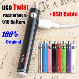 Micro Oil Australia - Hot vape battery Upgraded EVOD Ugo Twist voltage adjust Micro USB Passthrough e cigarette vapes for oil vaperizer with USB cable