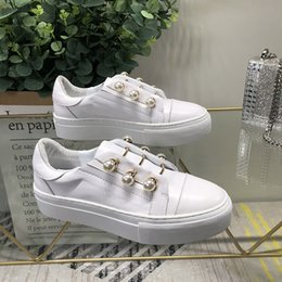 Metal Sneakers Australia - 2019 Woman Sneakers Slip On Woman Shoes White Color Pearl Decor Low Top Brand Runway Star Shoes Woman Flats Metal Decor Casual Shoes