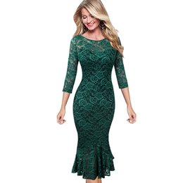 f6d46bf22c8 wholesale Womens Elegant Vintage Floral Lace Pinup Business Casual Cocktail  Party Fitted Bodycon Mermaid Pencil Sheaht Dress