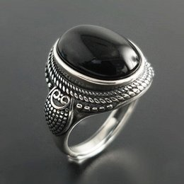 $enCountryForm.capitalKeyWord Australia - Fashion Jewelry Rings Real Pure 925 Sterling Silver Natural Black Onyx Stone Rings For Women Vintage Style Thai Silver Resizable Open Type