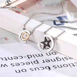 pendant for love Canada - Love Heart Pendant Necklace Stainless Steel Black Star Necklaces For Women Men Couple Lover Valentine Day Gift Jewelry-Z