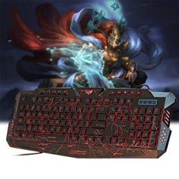 2017 keyboard A878 English Russian Wired Keyboard Adjustable Three-color Backlight Burst Crack Keyboard Over 5000000 Hits for Game Office