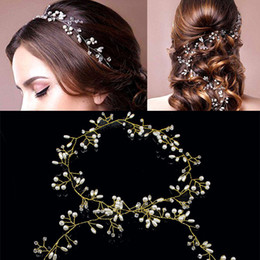 pearl crowns for sale Canada - Sale Wedding Headdress Simulated Pearl Hair Accessories for Bride Crystal Crown Floral Elegant Hair Ribbons Ornaments