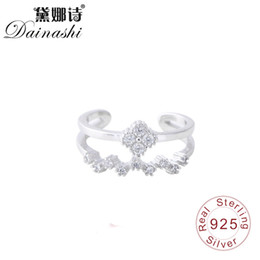 noble rings 2019 - Dainashi Crown Double Layer Zircon Ring Set 925 Sterling Silver Fine Elegant Noble Sexy Adjustable Finger Ring For Women