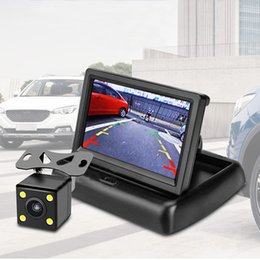 Car Lights Australia - New Car Accessories Car Reversing Image 4.3 Inch Folding Display With 12 Volts 4 Lights Rear View Waterproof Reversing Camera HD