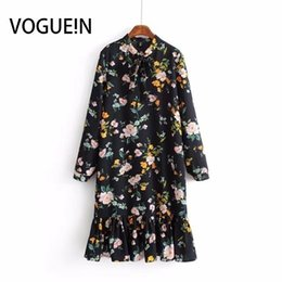 Wholesale long sleeve shift mini dress for sale – plus size Voguein New Womens Black Floral Print Long Sleeve Ruffled Hem Mini Shift Dress Y19051001