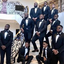 $enCountryForm.capitalKeyWord Australia - Custom Made All Black Attire Men Suits for Wedding Groomsmen Outfit Groom Tuxedos 2Piece Costume Homme Evening Party Terno Masculino