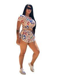 Venta al por mayor de Diseñador de trajes de verano para mujer 2pcs Conjuntos de ropa Guccy Tops Pantalones cortos Trajes casuales Ropa de lujo