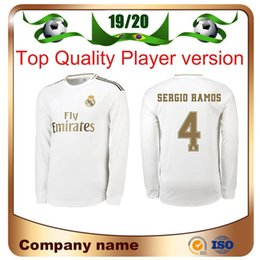 Wholesale 19 Real Madrid Player version Long Sleeve Champions League HAZARD Soccer Jersey Home RAMOS KROOS ISCO ASENSIO MODRIC football shirt