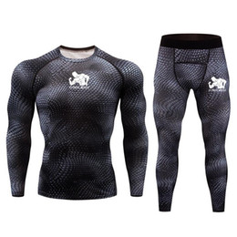 muscle men suits Australia - Lead Running suit Men Outdoor Base layer Sport set Winter jogging Compression underwear Gym Training Kit fitness muscle print sets