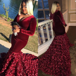 Red velvet women dRess online shopping - 2019 Burgundy African Mermaid Plus Size Prom Dresses African Long Sleeves Rose Flowers Velvet Fitted Women Sexy Evening Party Gowns