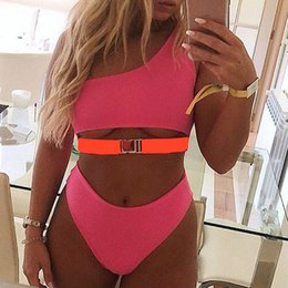 pink body suits Australia - Pink One-Shoulder Bikini Push Up Sexy Swimwear Bathing Suit New Buckle Swimsuit Women High Waist Beachwear Bathing Suit Biquini