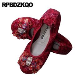 Crystal Stud Metal Australia - Rhinestone Metal Snake Vintage Large Size Women Beaded Foldable Ballet Flats Stud Shoes Moccasins Rivet 2019 Crystal Diamond Bow
