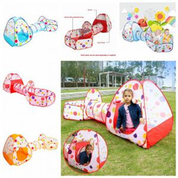 Discount kids cloth play tunnel - 3 in1 Foldable Children's Tent Pop Up Play House tunnel and ball pool Indoor Outdoor Children Baby Toys house tent