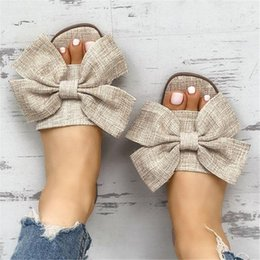 linen slippers Australia - Women Summer Beach Slippers Breathable Big Bow Linen Flip Flops Female Casual Flax Slippers Sandals Floral Indoor Shoes Non Slip