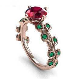 $enCountryForm.capitalKeyWord UK - Rose gold color Red flower green Leaves Flower vine rings cute gilrs party jewelry Brand CZ Wedding ring size 6-10 bague