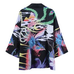 japanese flowers print UK - 2020 Spring Summer New Style Japanese-style Chinese Costume Three-quarter-length Sleeve Robes Ukiyo-E Crane Open Lining No Buckl