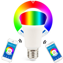 Multicolored Lights Australia - Bluetooth 6W Smartphone Controlled Dimmable Multicolored LED Light Bulb E26 E27 Lights for IOS Android Phone and Tablet