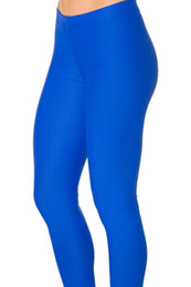 Navy Blue Yoga Pants UK - Neon Royal blue navy skyblue dark grey black purple solid color Yoga Leggings Skinny girls fitness compression tights legging #282670
