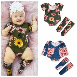 Toddler Girl Knee Socks Australia - 2019 spring summer baby girl rompers floral one piece jumpsuits toddler girls bodysuits + knee high socks leggings kids boutique clothing