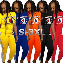Girl s piece suits online shopping - Women Champions Tracksuit Letter Print Short Sleeve T shirt Pants Piece Set Sportswear Sports Suit Summer Outfits S XL A362