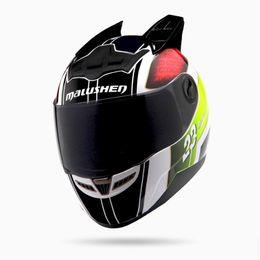 Helmet Horns online shopping - MALUSHEN Brand motorcycle helmet no helmet with black horns off road casque professional design full face