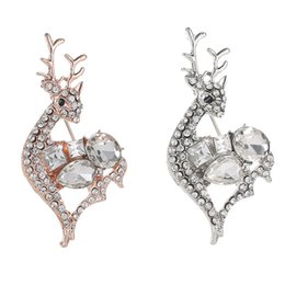 wholesale rhinestone brooches Australia - New Cute Austria Crystal & Rhinestone Brooch Elegant Christmas Deer Design For Women Classic Gift Trendy Sale Gift