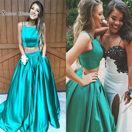 738185f81dcb 2018 Elegant Two Pieces Hunter Satin Prom Dresses Square Spaghetti  Sleeveless Zipper Prom Gowns Evening Dresses