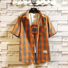 $enCountryForm.capitalKeyWord NZ - Summer New Youth Simple Street Wild Inch Clothing Male Korean Version Of The Trend Loose Bf Port Wind Half Sleeve Shirt Men