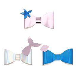 Three Piece Suit Bow Australia - 2019 new marine series headdress European and American children mermaid bow hairpin sea star shell three-piece suit