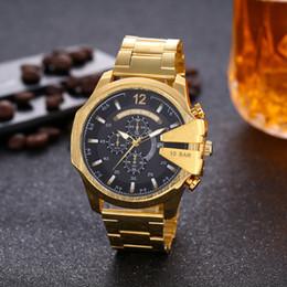 Esportes Mens Relógios Big Dial Display Top Marca de Luxo relógio de Quartzo Relógio de Aço Banda 7333 Moda relógios de Pulso Para Homens 7315