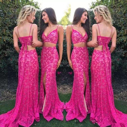 Wholesale t shirt for girls long size for sale – custom New Sexy Spaghetti Straps Two Pieces Mermaid Prom Dresses Fuchsia Lace Split Lace up Back Sleeveless Long Party for Girls Evening Gowns