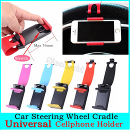 car mobile phone holder stand NZ - Universal Car Steering Wheel Mobile Phone Holder Clip Bracket Mount Holder Stand Buckle for Samsumg for LG GPS MP4 500PCS DHL