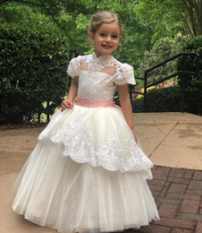 flowers for ivory wedding dress Australia - Ivory Tiered Lace Appliqued Flower Girl Dresses For Wedding High Neck Pageant Gowns Tulle Floor Length Short Sleeves First Communion Dress